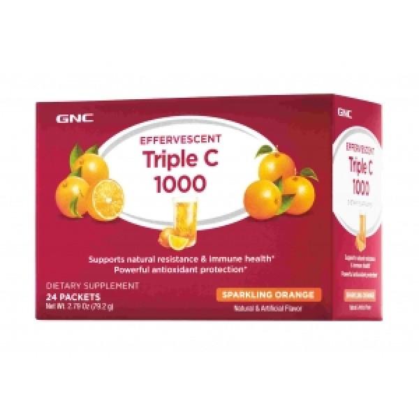 Vitamina C Triple 1000 mg efervescenta cu aroma de portocale (24 plicuri), GNC