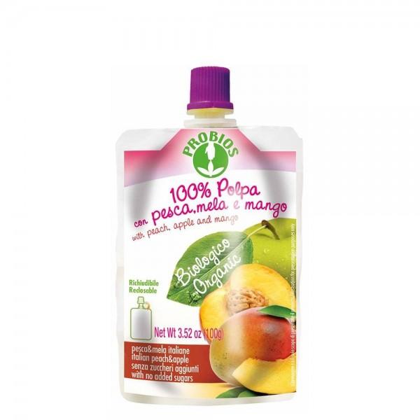 Piure de fructe fara zahar - piersici, mere, mango (100g), Probios