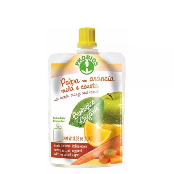 Piure de fructe fara zahar - mere, portocale, morcovi (100g), Probios