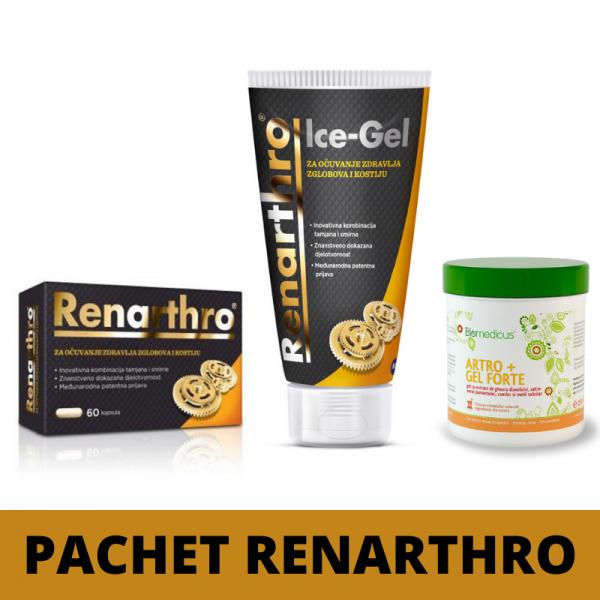 Pachet Renarthro (60 capsule)+ Renarthro Ice gel (150 ml)- Cadou Biomedicus Artrogel Forte (250 ml)