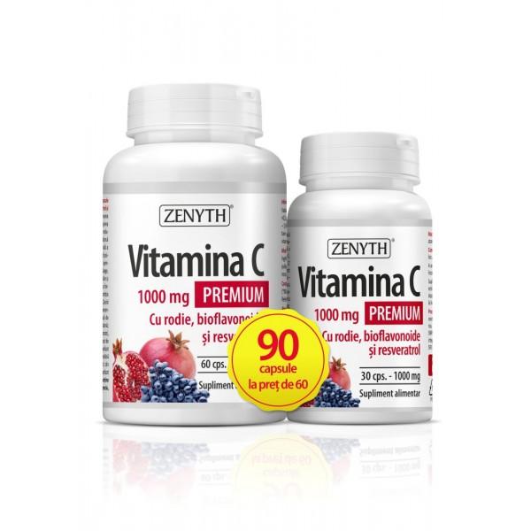 Pachet Promo Vitamina C Premium 1000 mg cu rodie si bioflavonoide (60 capsule + 30 capsule gratuit), Zenyth Pharmaceuticals