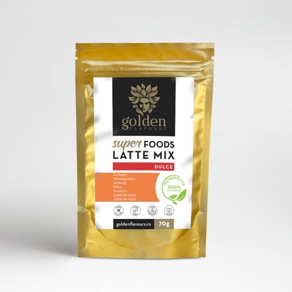 Superfoods Latte Mix Dulce Pachet 3 bucati + 1 gratis (70 grame), Golden Flavours