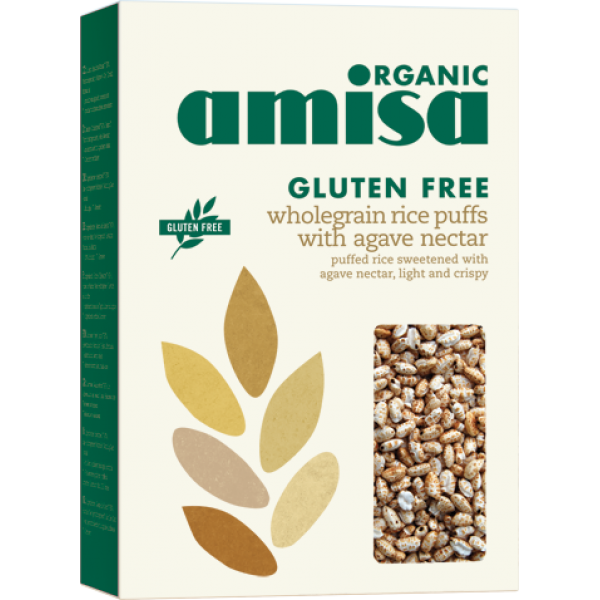 Orez integral expandat cu agave fara gluten bio (225 grame), Amisa
