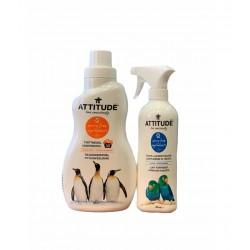 Pachet Promo Detergent lichid rufe coaja de citrice (1050 ml), + CADOU Solutie reimprospatare si eliminare a mirosurilor glacial, Attitude
