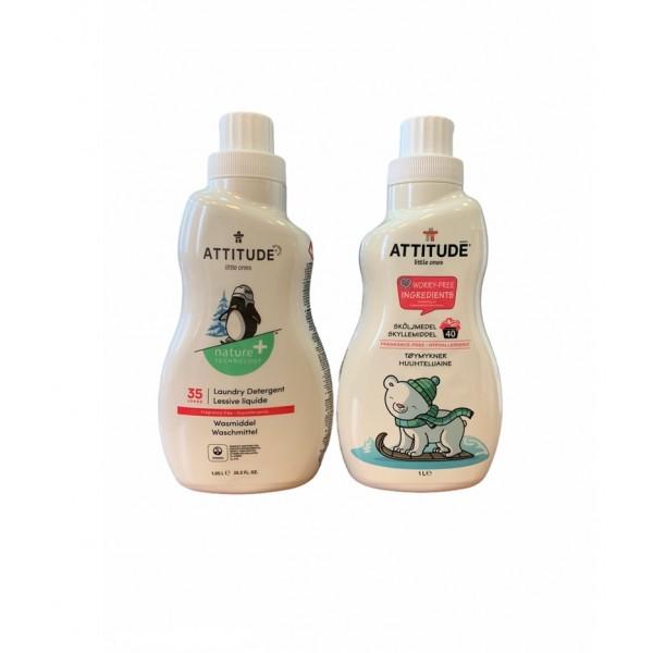 Pachet Promo Detergent lichid rufe bebelusi fara miros (1050 ml), + GRATUIT Balsam de rufe bebelusi fara miros (1000 ml), Attitude