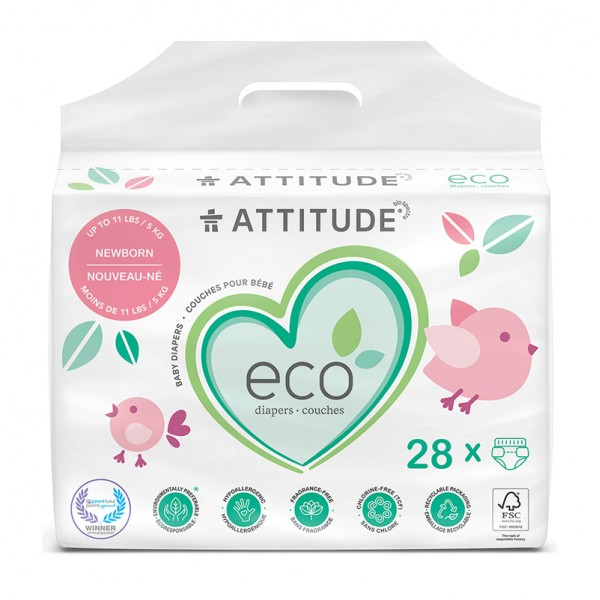 Scutece ecologice de unica folosinta pentru nou-nascuti (sub 5kg) (28 bucati), Attitude