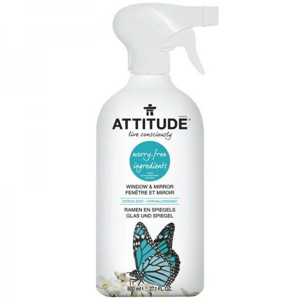 Solutie de curatat pentru geamuri şi oglinzi, coaja de citrice (800 ml), Attitude