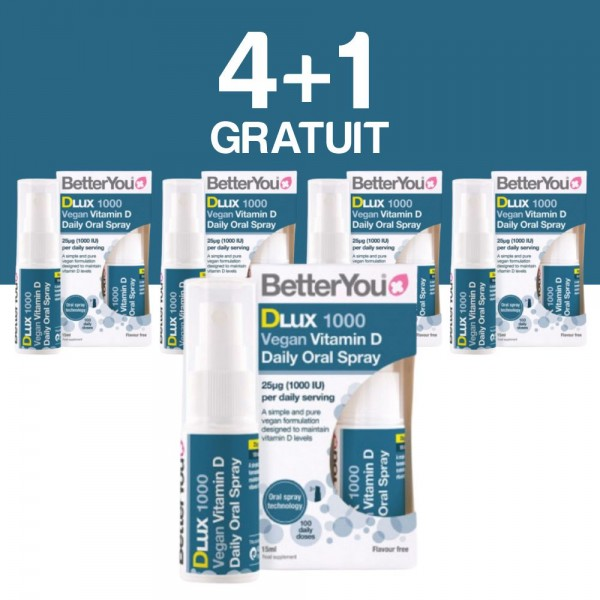 4+1 GRATUIT DLux 1000 Vegan Vitamin D Oral Spray (15ml), BetterYou