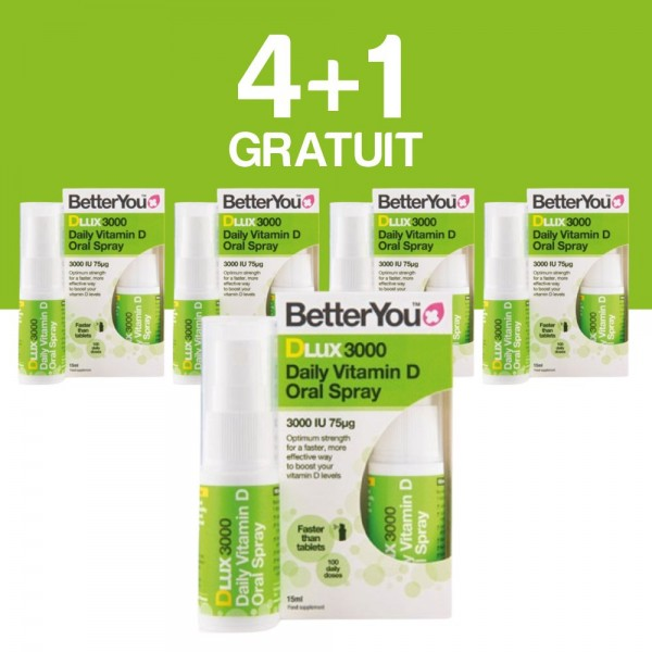 4+1 GRATUIT DLux 3000 Vitamin D Oral Spray (15ml), BetterYou