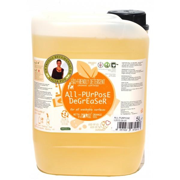 Detergent ecologic pentru toate suprafetele cu ulei de portocale (5 litri), Biolu