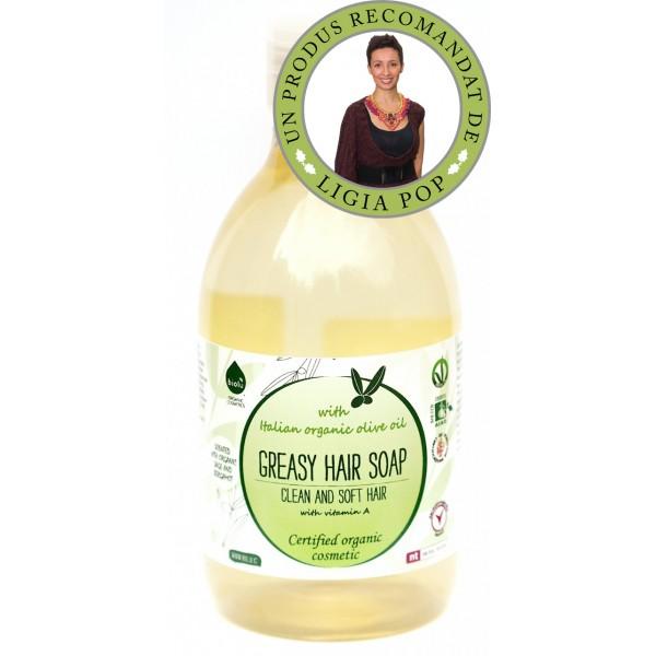 Sampon ecologic cu ulei de masline pentru par gras (300 ml)