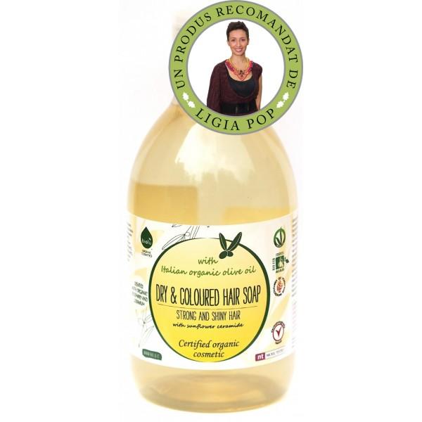 Sampon ecologic cu ulei de masline pentru par uscat/vopsit (300 ml), Biolu