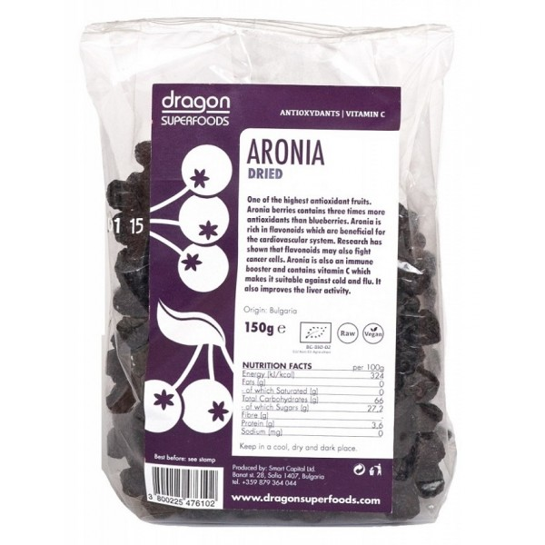 Aronia fructe uscate raw bio (150 g), Dragon Superfoods