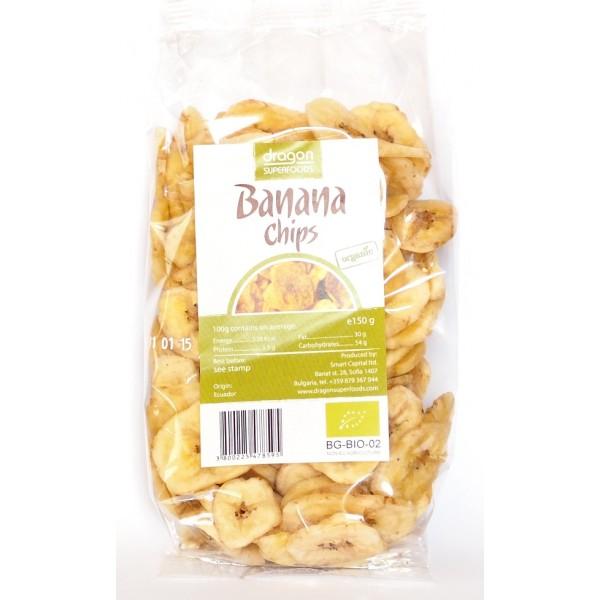 Banane uscate si feliate bio (150 g), Dragon Superfoods