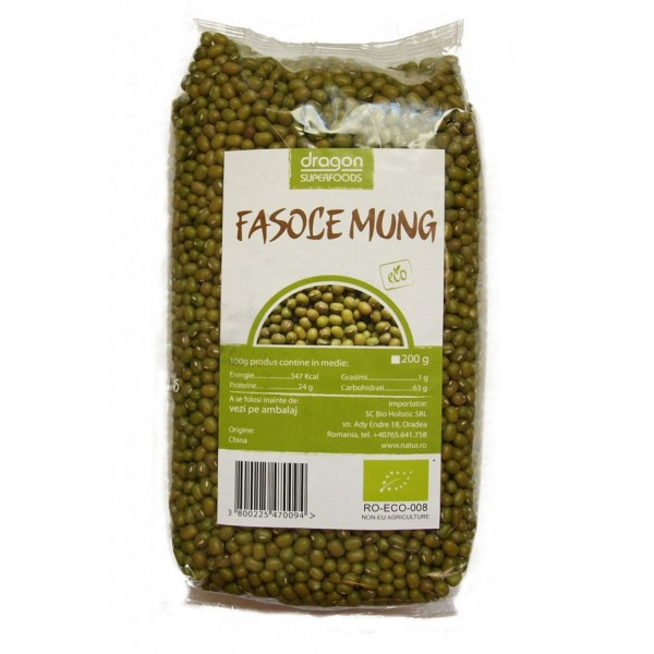 Fasole mung bio (500 grame), Dragon Superfoods