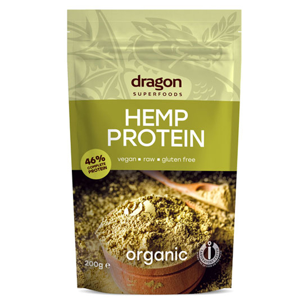 Pudra proteica din canepa raw bio (200 grame), Dragon Superfoods