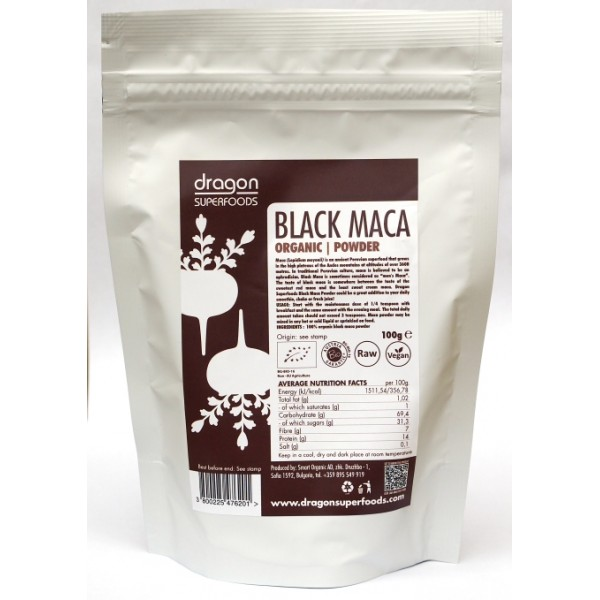 Maca neagra pudra raw bio (100 grame), Dragon Superfoods