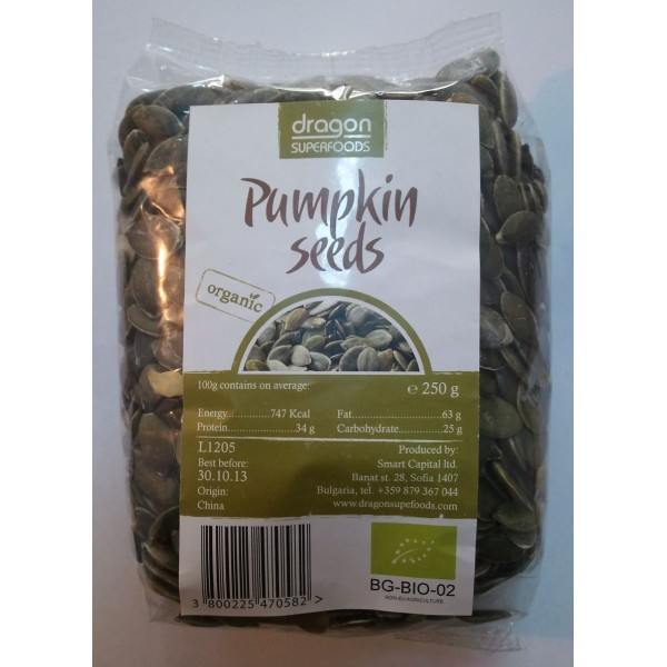 Seminte de dovleac raw bio (250 g), Dragon Superfoods