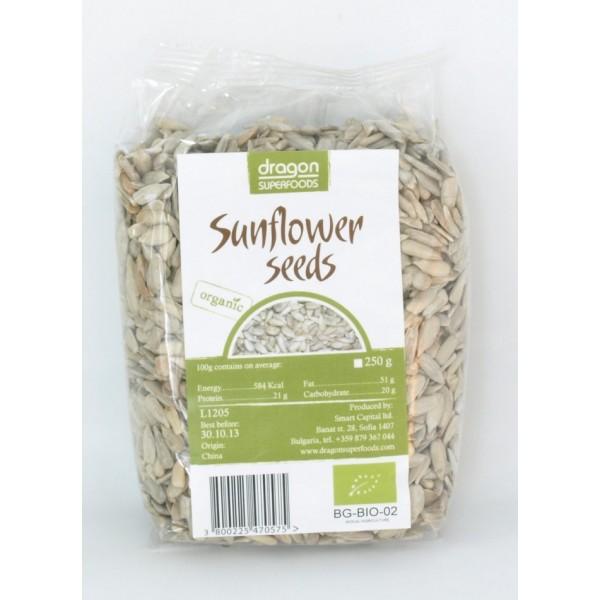 Seminte de floarea soarelui raw bio (250 g), Dragon Superfoods