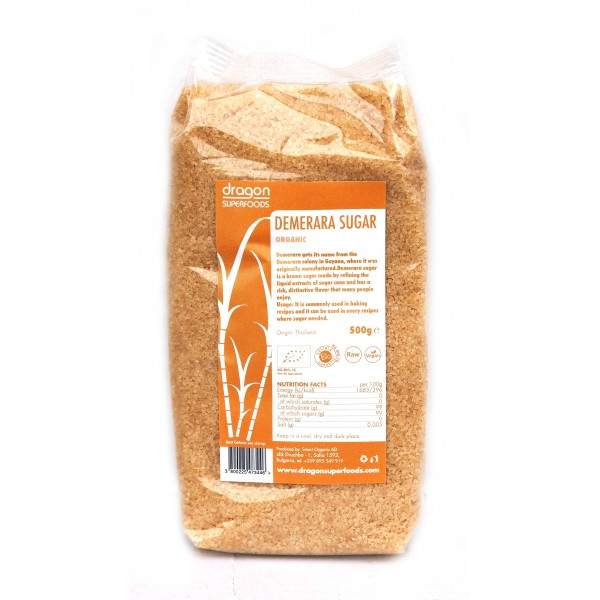 Zahar brun Demerara bio (500 grame), Dragon Superfoods