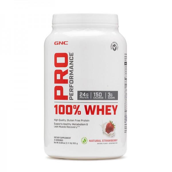 100% Whey Proteina din zer cu aroma naturala de capsuni (955 grame), GNC Pro Performance