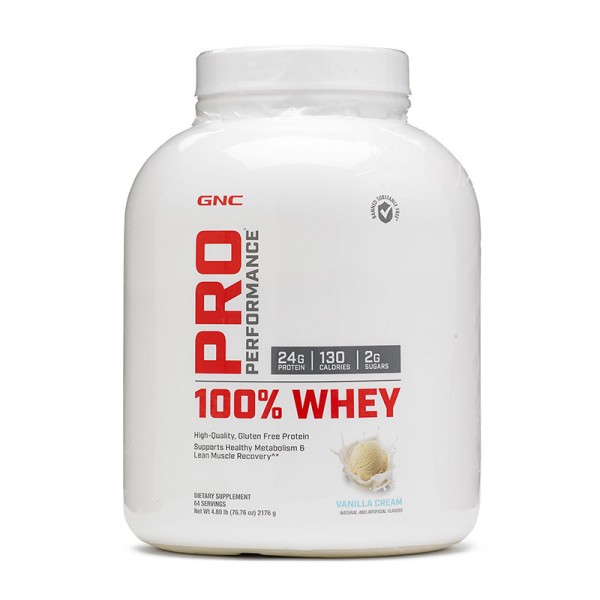 100% Whey Proteina din zer cu aroma de vanilie (2176 grame), GNC Pro Performance