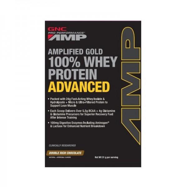 AMP Gold Advanced 100% Proteina din zer cu aroma de ciocolata (31 grame), GNC