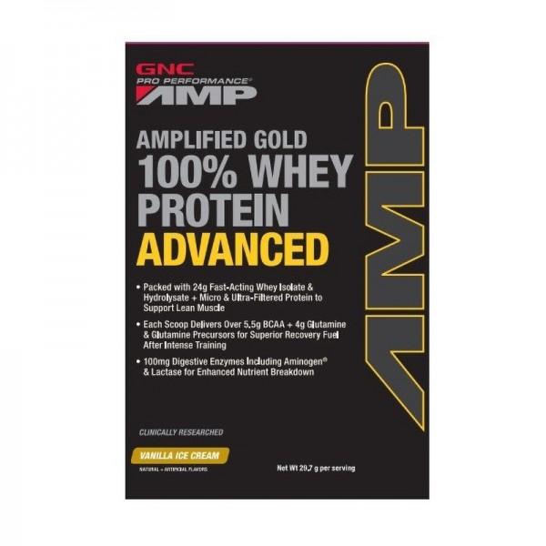 AMP Gold Advanced 100% Proteina din zer cu aroma de vanilie (29.7 grame), GNC