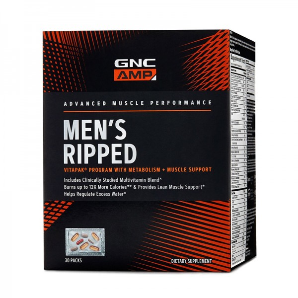 AMP Men's Ripped Vitapak - Program pentru masa musculara (30 pachete), GNC