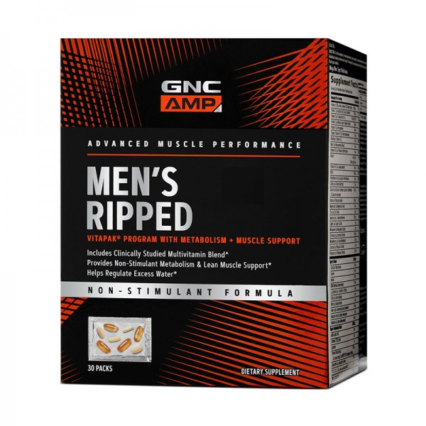 AMP Men's Ripped Vitapak - Program non-stimulant pentru masa musculara (30 pachete), GNC