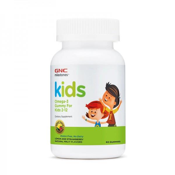Kids acizi grasi Omega-3 cu aroma de lamaie si capsuni pentru copii 2-12 ani (60 jeleuri), GNC Milestones