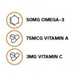 Kids DHA acizi grasi Omega-3 cu aroma de zmeura si lamaie pentru copii 2-12 ani (120 jeleuri), GNC Milestones
