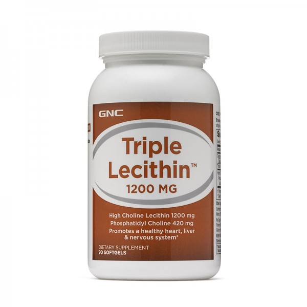 Lecitina tripla 1200 mg (90 capsule gelatinoase moi), GNC