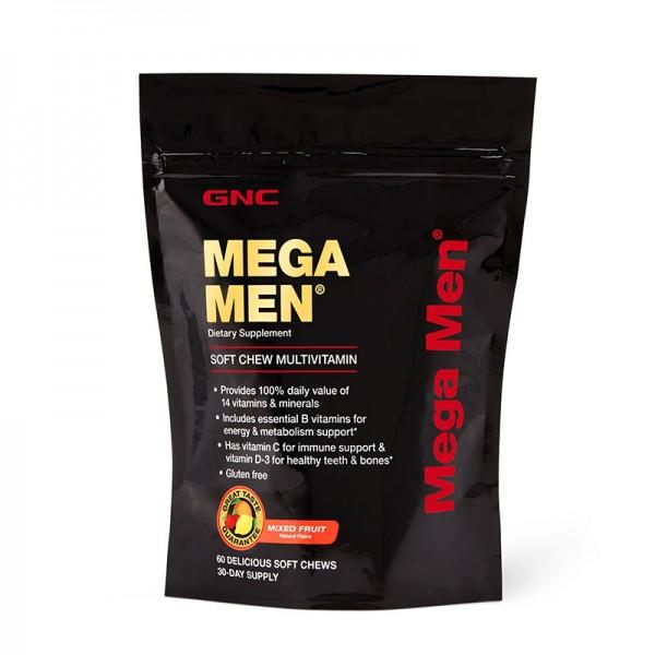 Mega Men Complex de multivitamine pentru barbati cu gust de fructe asortate (60 caramele), GNC