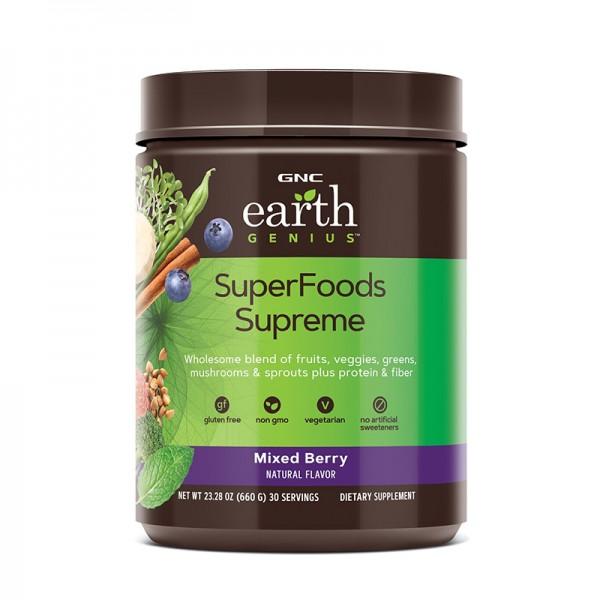 Mix de superalimente cu aroma de fructe de padure (630 grame), GNC Earth Genius