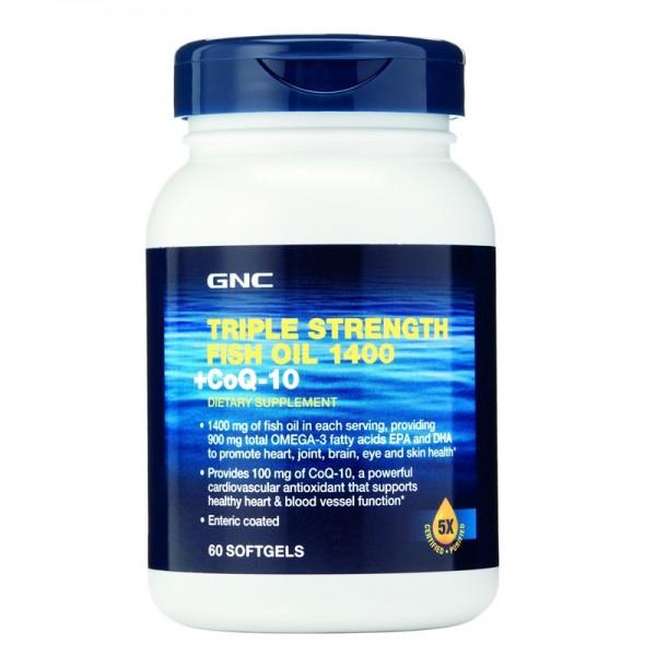 Triple Strength Ulei de peste 1400 plus Coenzima Q-10 (60 capsule), GNC