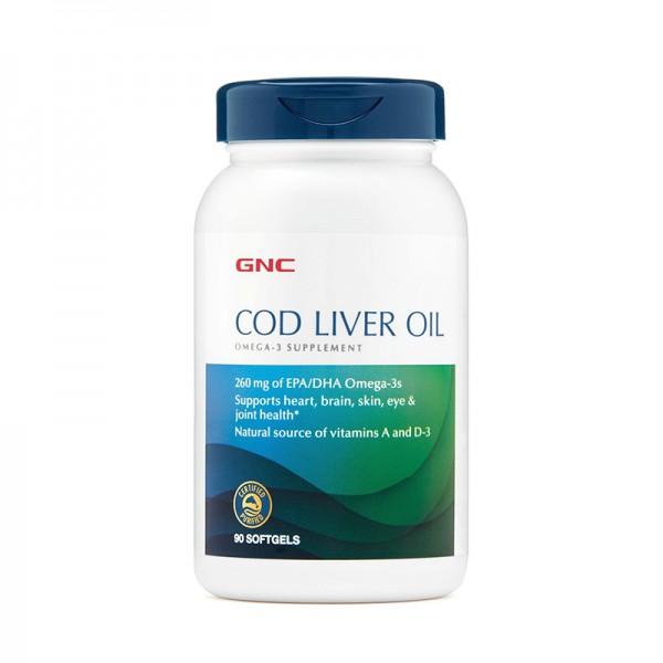 Ulei triplu din ficat de cod (90 capsule), GNC