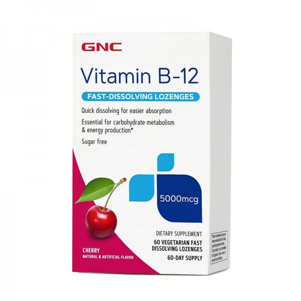 Vitamina B-12 5000 mcg cu dizolvare rapida si aroma de cirese (60 capsule), GNC