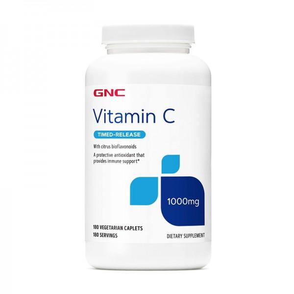 Vitamina C 1000 mg cu bioflavonoide si pulbere de macese (180 capsule), GNC
