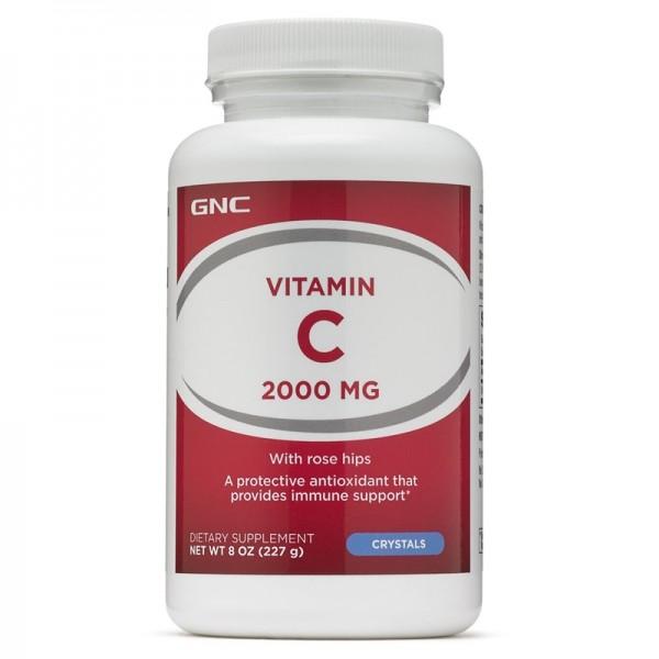 Vitamina C 2000 mg cu macese, cristale (227 grame), GNC