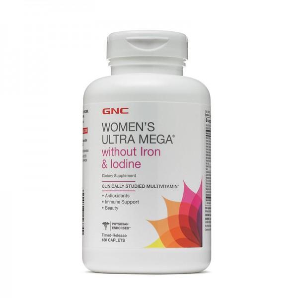 Women's Ultra Mega Complex de multivitamine pentru femei fara fier si iod (180 capsule), GNC