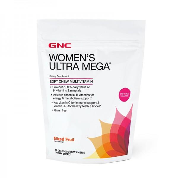 Women's Ultra Mega Multivitamine pentru femei cu gust de fructe (60 caramele), GNC