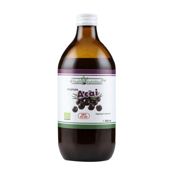 Suc Acai 100% pur, Bio (500 ml), Health Nutrition