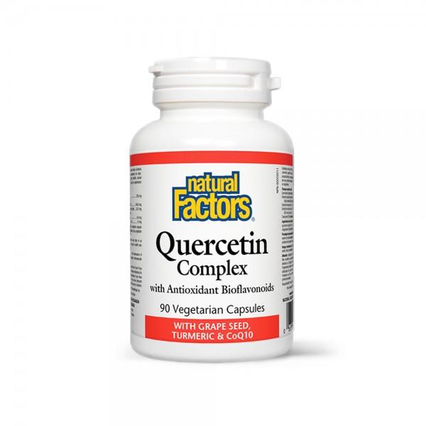 Quercetin Complex cu Bioflavonoizi, Extract din Samburi de Struguri, Turmeric si Conezima Q10 (90 capsule), Natural Factors