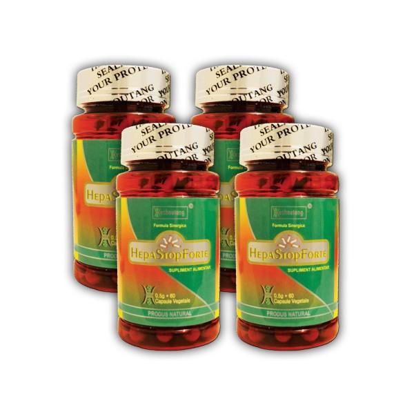 Pachet Economic 4 Flacoane HepaStop Forte (60 capsule), Heshoutang TCM Healthcare