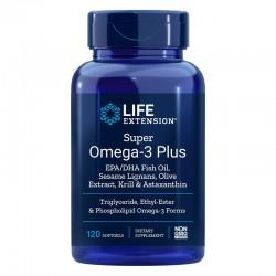 Super Omega-3 Plus EPA / DHA cu Susan, Extract de masline, Krill si Astaxantin (120 capsule), LifeExtension