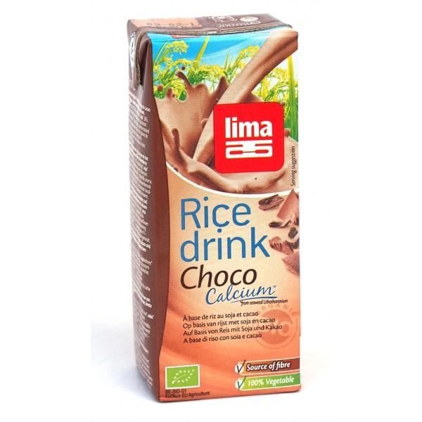Lapte de orez cu ciocolata + soia si calciu bio (200 ml) cu pai, Lima