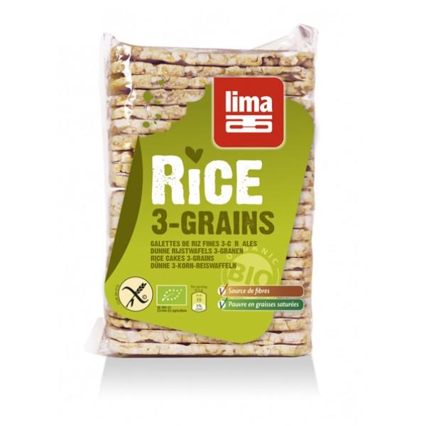 Rondele de orez expandat cu 3 cereale bio (130 grame), Lima