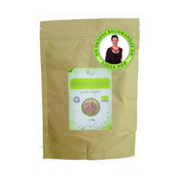 Mucuna pruriens pudra raw bio (125 grame)