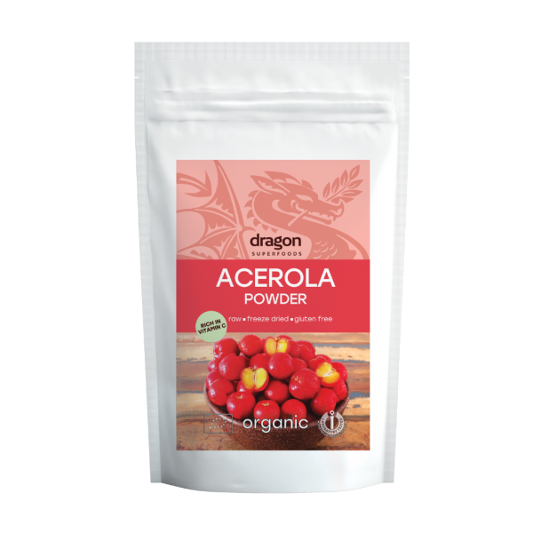 Pulbere de acerola raw bio (75 grame), Dragon Superfoods